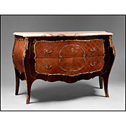 SALE Early 20th C. Louis XV Marquetry Bombe Commode With Marble Top