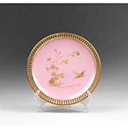 SALE Minton Enameled Pink Ground Reticulated Plate, 1875