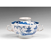 SALE 1830-40 Nanking Chinese Export Rice Or Soup Bowl With Footed Stand
