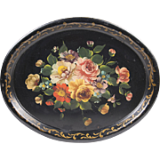 SALE Early 20th C. Oval Hand Painted Floral Tole Tray, Oval Shape