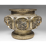 Large 19th C. Chinese Gilt Bronze Jardiniere, Finely Detailed