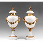 SOLD Pair Of French Louis XVI Style Ormolu And Marble Cassolettes
