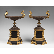 SALE Pair of French Charles X Bronze And Marble Garniture Tazzas