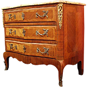 SALE 19th Century Louis XV Inlaid Commode With Breche Marble