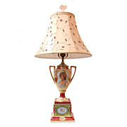 SALE 19th C. Hand Painted Royal Vienna Style Campana Urn Fitted As Lamp
