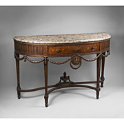 SALE Early 20th C. Neoclassical Style Demilune Inlaid Sideboard