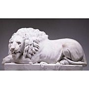 Pair of Hand Carved Marble Canova Style Recumbent Lions