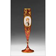 SALE 1865 Cranberry Bohemian Hand Painted Portrait Vase