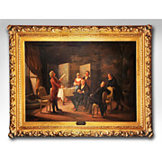 SALE Enrico Fanfani Oil Painting On Canvas Mounted In A Gilded Rococo Frame