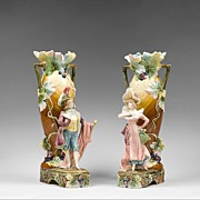 SALE Pair of French Art Nouveau Barbotine Figural Majolica Vases