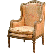 SALE Louis XVI Winged Bergere, Antique Finish