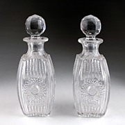 SOLD Matching Pair of late 19th C. Crystal Zipper Cut Stoppered Decanter