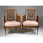 Pair of 19th C. Painted Satinwood Matched Armchairs With Cane