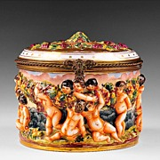 SALE Large French Capodimonte Style Porcelain Box