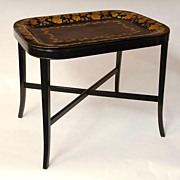 SOLD 19th Century Toleware Laquered Tray With Later Stand