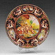 SALE C. A. C. F. Majolica Hand Painted Charger