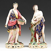 SALE Pr. of 19th C. Edme Samson Porcelain Figures In The Style of Chelsea Derby