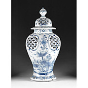 SALE Blue & White 19th Century Delft Faience Covered Urn
