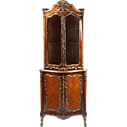 SALE 19th C. Louis XV Encoignure Vitrine or Corner Cabinet Mounted in Ormolu