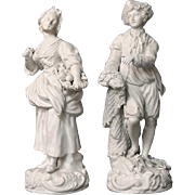 SALE Pair of French Biscuit Ware Figurines