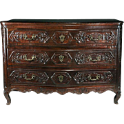 SALE 18th C. French Provincial Régence Oak Carved Commode