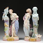 SALE Pr. of 19th C. Paris Porcelain Jean Gille Bisque Figures