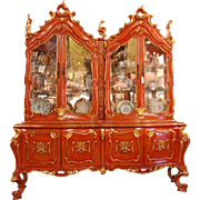 SALE Mid 20th C. Carved Venetian China Cabinet Polychromed in Chinese Red Enamels