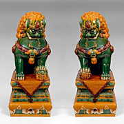 SALE Qing Dynasty Temple Guardian Lion Foo Dogs with Sancai Glaze
