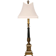 SOLD Patinated Brass Column Lamp With Pedestal Base