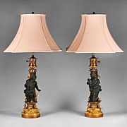 SALE Pair of Patinated and Gilt Bronze French Figural Lamps