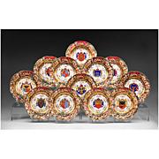 SALE Set of 12 Capodimonte German Porcelain Heraldic Dinner Plates