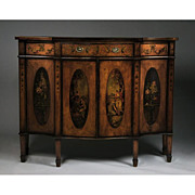 SALE Late 19th C. Adams Style Painted Satinwood Cabinet