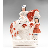 SALE Staffordshire Figure Of Royal Children On Horse, 1860