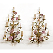 SALE French 19th C. Pair of Bronze Sconces Mounted With Porcelain Flowers