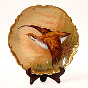 SALE Broussillon Signed Coronet Limoges Game Fowl Charger