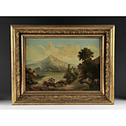 SALE Scenic Swiss Oil Painting on Canvas of Landscape, 19th Century