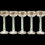 SALE Five 19th Century Venetian Enameled Wine Goblets
