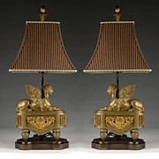 SALE Pair of 19th C. Bronze Sphinx Chenets Fitted as Lamps