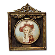 19th C. MIniature Portrait of Duchess of Parma, signed Blanche