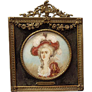 SALE 19th C. MIniature Portrait of Duchess of Parma, signed Blanche