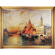 SALE O/C Venetian Harbor Landscape by Richard Dey de Ribcowsky