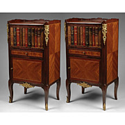 SALE Pair of French Regence Commodes Or Nightstands With Faux Leather Book Door
