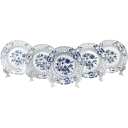 SALE Set of 5 Blue Onion Meissen Style Reticulated Plates