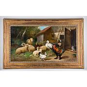 SALE 19th C. O/C of Farmyard Animals by Julius Scheuerer, 1859-1913