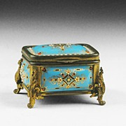 SALE 19th C. French Blue Enamel Casket Fitted With Ormolu
