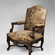 SALE Carved 19th C. Louis XV Armchair with Aubusson Tapestry