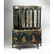 SALE Late Edwardian Chinoiserie Decorated Queen Anne Style China Cabinet