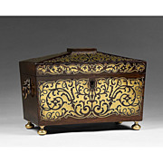 SALE 19th C. Rosewood Regency Tea Caddy with Brass Overlay