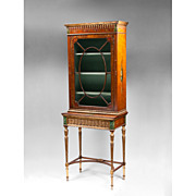 SALE Satinwood Sheraton Painted Display Cabinet; 19th C