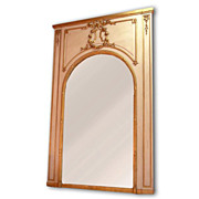 SALE Belle Epoque Louis XVI Parcel Giltwood Carved Trumeau Mirror